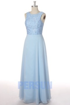 Solde robe de soirée longue en mousseline azurin taille 34