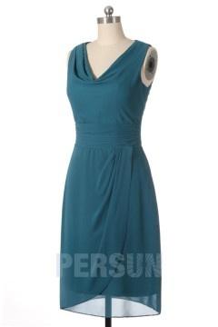 Solde robe demoiselle d'honneur verte courte
