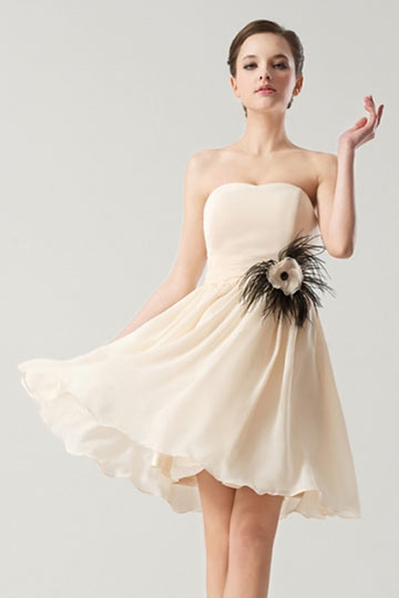 Dressesmall Simple Empire Flowers Feathers Short Formal Bridesmaid Dress