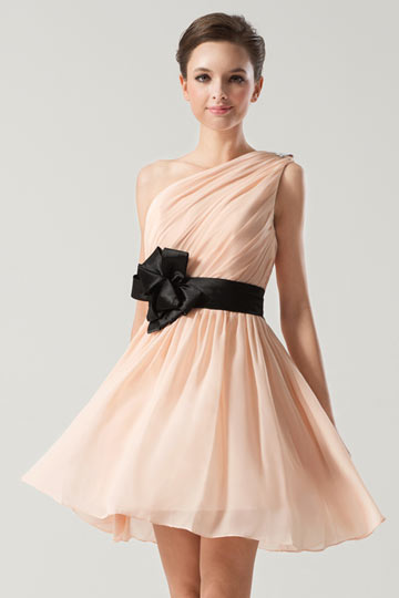 Dressesmall Short One shoulder Empire Sash Ruching Pink Formal Bridesmaid Dress