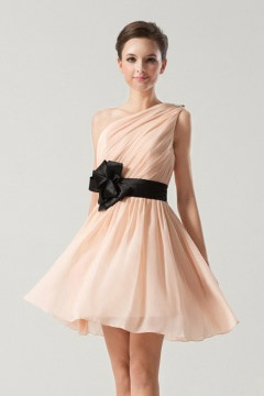 Short Ruching One shoulder Black Sash with Flower Bridesmaid Dress