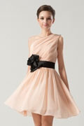 Short One shoulder Empire Sash Ruching Pink Formal Bridesmaid Dress