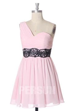 Robe rose courte asymétrique & plissée pour cortège mariage