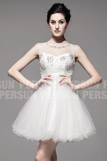 Princess Stil Rund Ausschnitt Empire Perle Drapiert Hochzeitsmode aus Tüll Persun