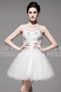 Cute Sheer Open Back Pleats Beading Tulle Short Dress for Brides