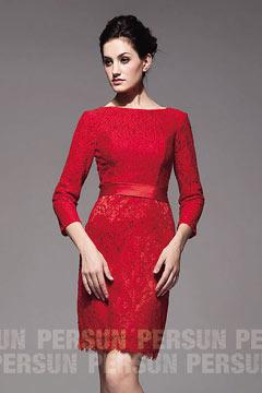 Robe rouge manche longue en dentelle vintage pour cocktail ou mariage