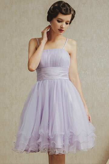 Chic Purple A Line Tulle Ruching Knee Length Bridesmaid Dress