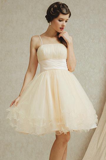 Dressesmall Sexy Champagne Tulle Knee Length Spaghetti Straps Bridesmaid Dress
