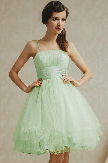 Dressesmall Modern Green Tulle Knee Length A Line Zipper Formal Bridesmaid Dress