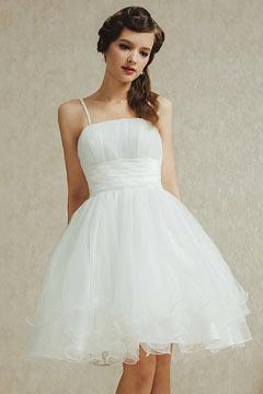 Mini robe blanche pour mariage en tulle à effet romantique