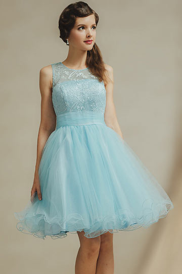 Dressesmall Chic Blue Scoop A Line Knee Length Tulle Formal Bridesmaid Dress