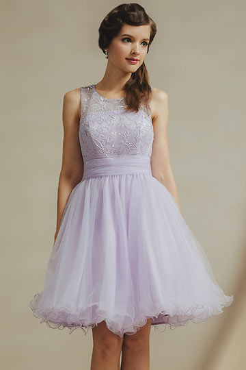 Modern Purple Scoop Knee Length Tulle Sequins Bridesmaid Dress
