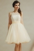 Moder Champagne Scoop Knee Length Tulle Sequins Formal Dress