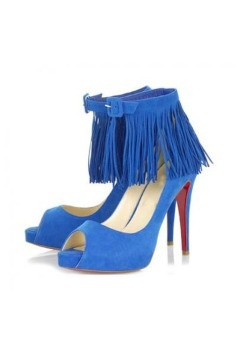 Short Tina Fringe Pumps Bright Blue
