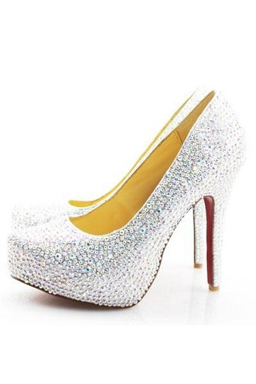 Luxuriöse mit roter Sohle Diamond Plateauabsatz Schlupfschuh Damen Pumps Persunshop