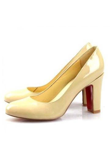 Gelbe aus Leder mit roter Sohle Plateauabsatz Schlupfschuh Damen Pumps Persunshop