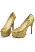 Luxuriöse goldene mit roter Sohle Plateauabsatz Schlupfschuh Damen Pumps