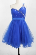 Beading One Shoulder Tulle Short Blue Cocktail Dress