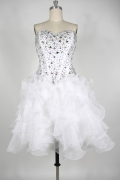 Beading Ruffles Strapless Organza Short White Cocktail Dress