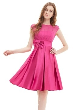 Pleats Bow Scoop Silk like satin Fuchsia Formal Bridesmaid Dress