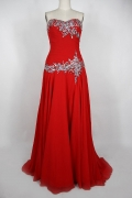 Beading Sequins Strapless Red Chiffon Long Formal Dress