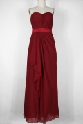 Simple Strapless Ruffles Chiffon Red Long Formal Bridesmaid Dress