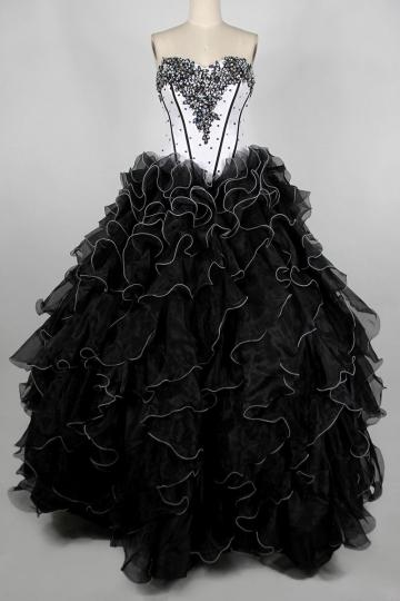 Dressesmall Beading Pick up skirt Strapless Organza Princess Black Formal Dress