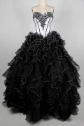 Beading Pick up skirt Strapless Organza Princess Black Formal Dress