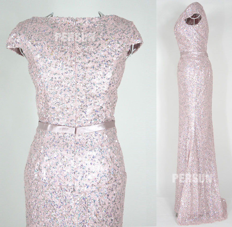 dressesmallau sparkle formal pink bridesmaid dress