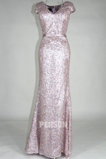Dressesmall Gorgeous V Neck Pink Sequins Cap Sleeves Floor Length Formal Dress