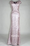 Gorgeous V Neck Pink Sequins Cap Sleeves Floor Length Formal Dress