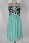 Ruched Strapless Chiffon Short Green Cocktail Dress