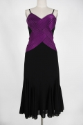 Color Block Purple and Black Short Sleeves Knee length Mother of the bride Dress with Jacket