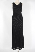Criss cross V neck Black Long Formal Dress