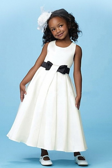Dressesmall Fashion Satin A Line Scoop White Flower Girl Dress With Black Bow