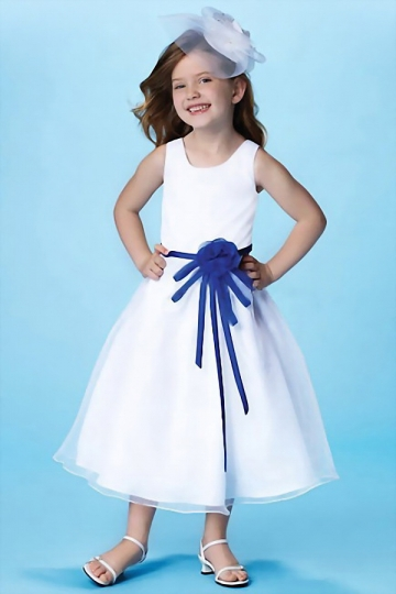Dressesmall Cute Scoop Satin White Tea Length Flower Girl Dress With Blue Bow