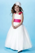 Cute Ball Gown Floor Length Flower Girl Dress With Bow
