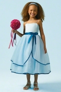Chic Blue Ball Gown Tea Length Bow Spaghetti Straps Flower Girl Dress