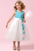 Chic Ball Gown Tea Length Flower Girl Dress in Satin and Organza