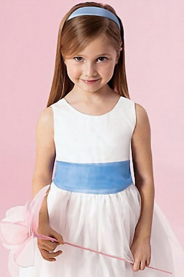 Dressesmall Chic Scoop Princess Bow Flower Girl Dress in Satin and Organza