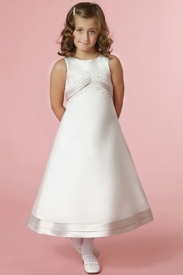 Dressesmall Fashion Satin Ivory A Line Ankle Length Zipper Flower Girl Dress