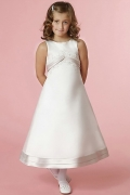 Fashion Satin Ivory A Line Ankle Length Zipper Flower Girl Dress