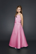Elegant Pink Spaghetti straps Floor Length Natural Flower Girl Dress