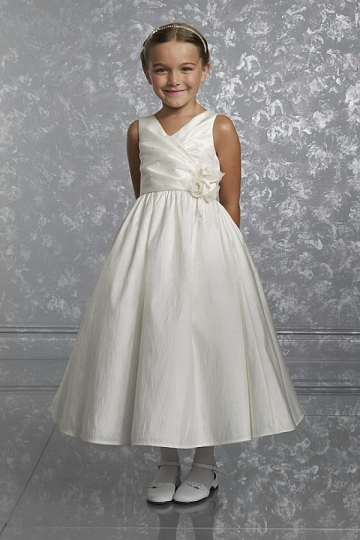 Dressesmall Cute Taffeta Ball Gown V Neck Ankle Length Flower Girl Dress