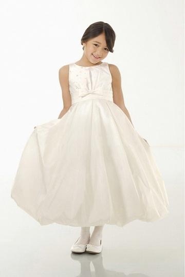 Dressesmall Modern Taffeta Ivory Scoop Ball Gown Appliques Flower Girl Dress