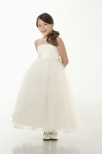 Dressesmall Modern Ivory Satin Ankle Length Princess Flower Girl Dress With Bow