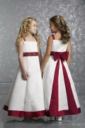 Chic Satin A Line Color Block Flower Girl Dress With Straps