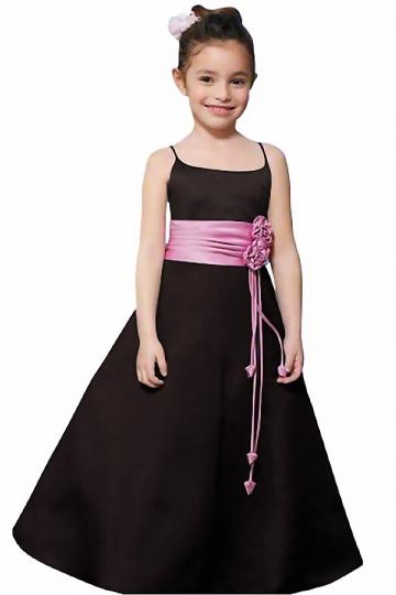 Dressesmall Elegant Black Ruching A Line Spaghetti Straps Flower Girl Dress