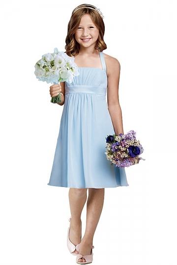 Elegantes A-Linie Halter Knielanges blaues Blumenmädchenkleider Persun