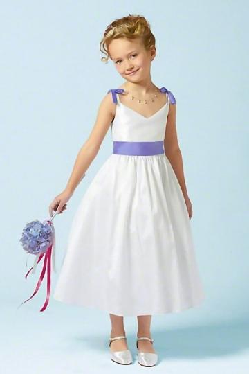 Elegantes V-Ausschnitt A-Linie Wadenlanges Blumenmädchenkleider Persun